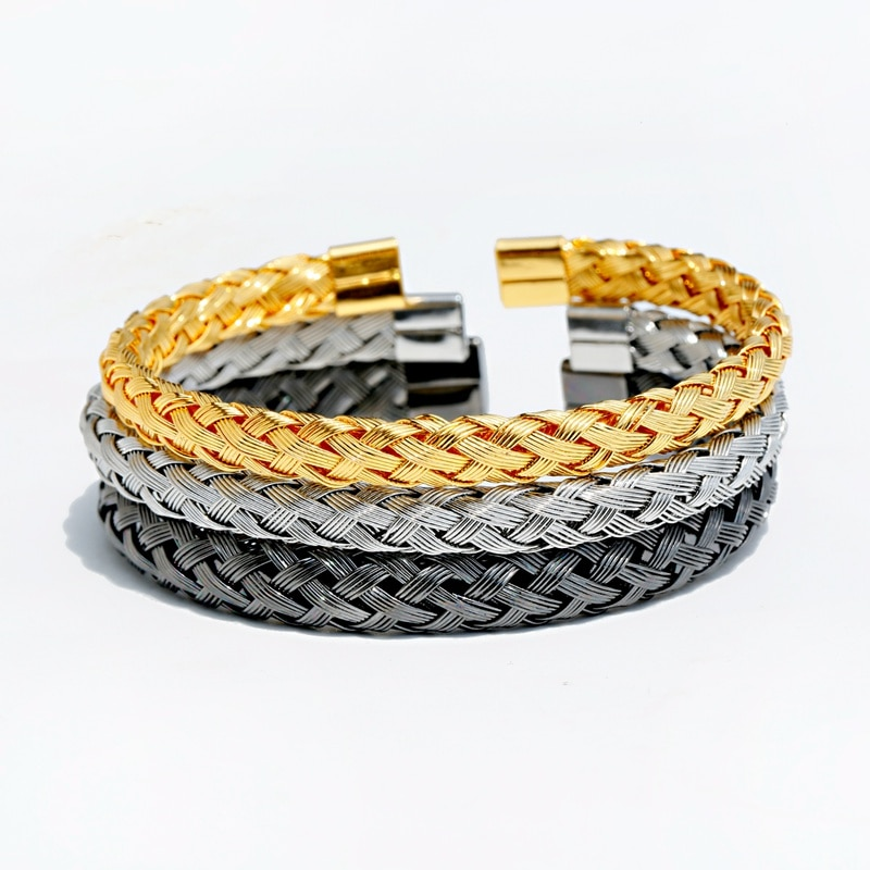 Nueva pulsera de cobre a la moda, brazalete de oro de lujo para hombres, brazalete ajustable para mujeres, regalo de joyería para chicas, Dropshipp
