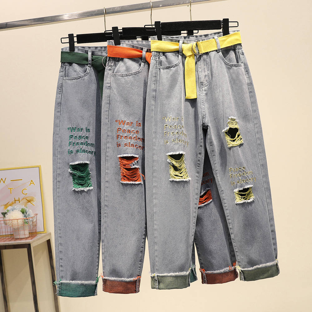ベルト刺繍文字夏レディースデニムジーンズをリッピング穴ストリートbfジーンズfemininoハーレムパンツデニムズボンNZ78