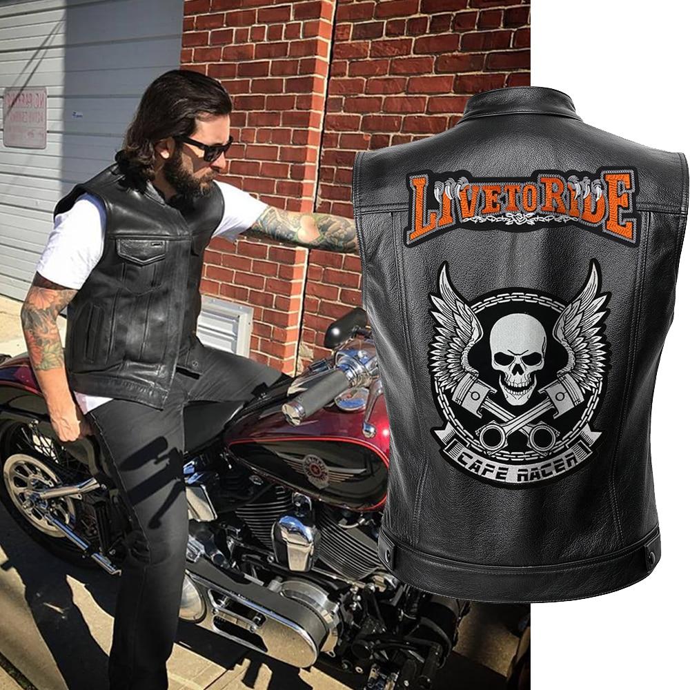 Men Biker Jackets Vest Solid Color Leather Jacket Punk Motorcycle Jacket Embroidery Skull Jacket Short Coats