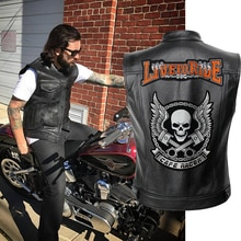 Männer Biker Jacken Weste Einfarbig Leder Jacke Punk Motorrad Jacke Stickerei Schädel Jacke Kurze Mäntel