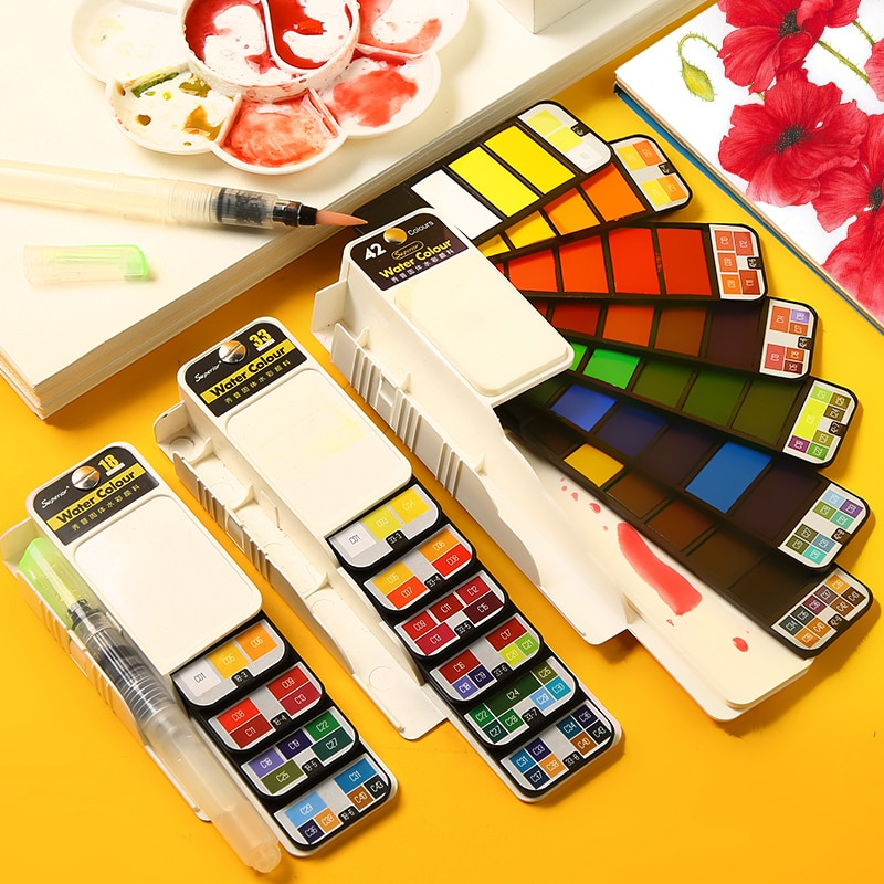 Superior 18/25/33/42 Solid Watercolor Paint Set With Water Brush Pen Foldable Travel Water Color Pigment For Artist Stationery