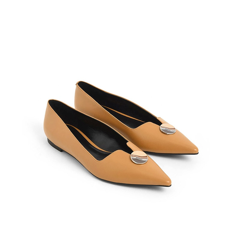 2021 New Women Pumps Office Lady Everyday Wear Pointed Toe Button Decoration Flat With Sandals Slip-on Mother's Day Gift Shoes