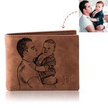 ปรับแต่งภาพกระเป๋าสตางค์ชาย Retro Multifunction Pu หนัง Bifold ที่กำหนดเองภาพแกะสลักข้อความกระเป๋าของขวัญวั...