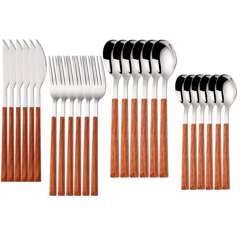 24 قطعة المقاوم للصدأ أدوات مائدة من الفولاذ مجموعة خشب لامع أطقم أواني تقديم الطعام الغربية الغذاء سكين شوكة ملعقة صغيرة Cutleries