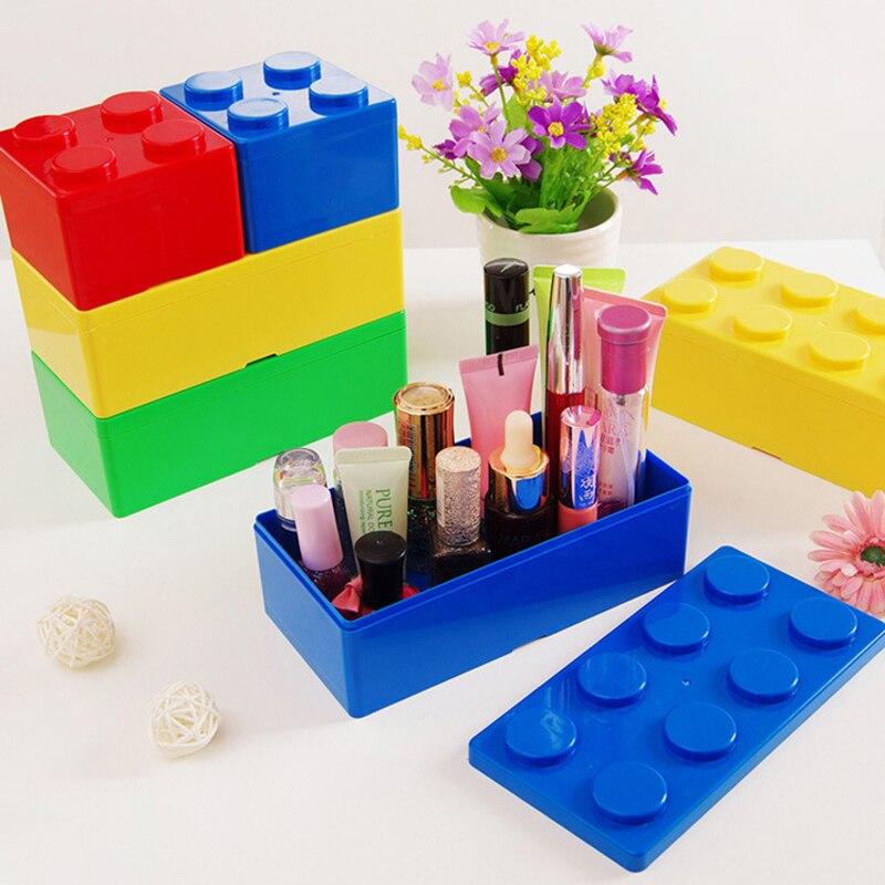 Caixa de armazenamento de cosméticos, caixa de armazenamento de artigos de papelaria, armazenamento de cosméticos, bloco de construção, economizador de plástico, caixa superposto