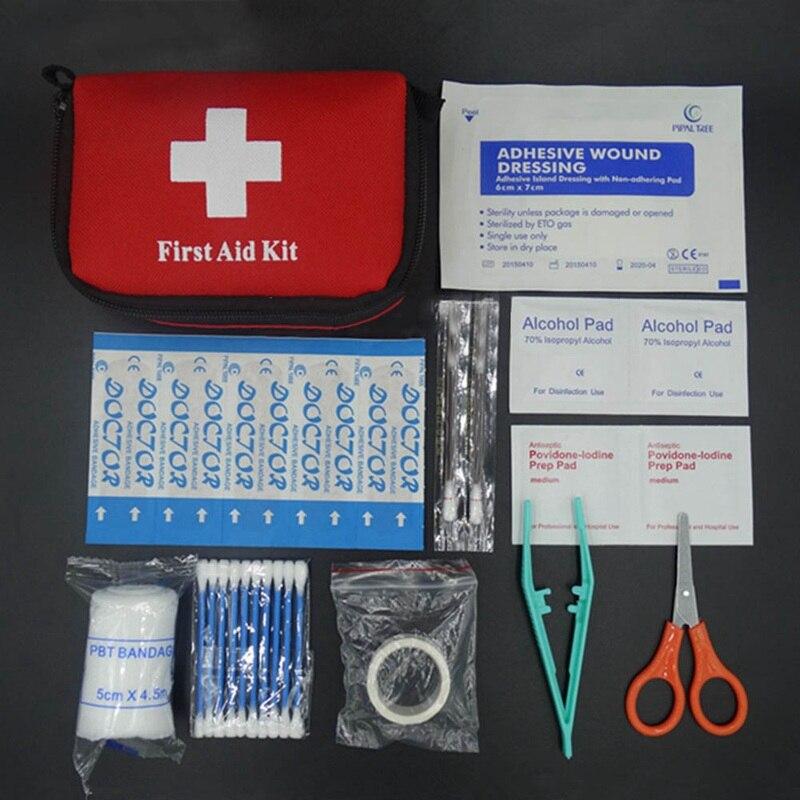 Venta caliente bolsa de supervivencia de emergencia familiar Mini Kit de primeros auxilios kits de viaje para el deporte bolsa médica para el hogar coche al aire libre Primeros Auxilios bolsa de 11 unids/set