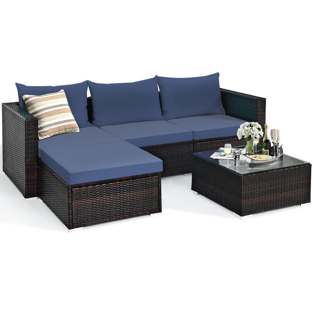 5PCS Patio Rattan Furniture Set Sectional Conversation Sofa w/ Coffee Table HW66521