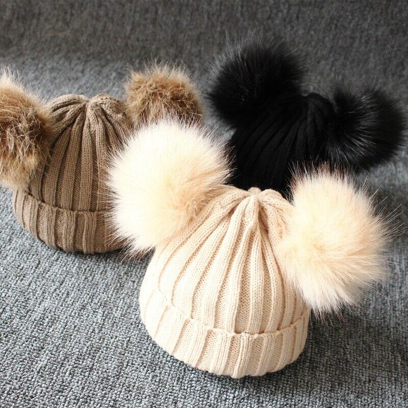 Шапка с меховым помпоном для новорожденных детей мальчиков девочек зимняя теплая шапка с помпоном вязаная шапка s