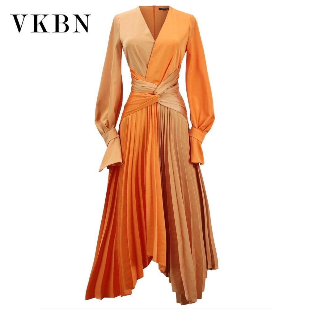فساتين نسائية ذات جودة عالية من VKBN فستان حفلات بأكمام طويلة مُزين بقطع القماش فساتين أنيقة لربيع وخريف 2021