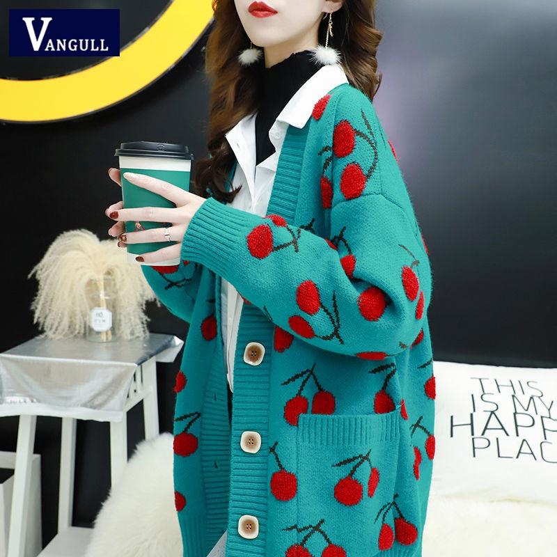 Вязаный женский свитер с принтом, кардиганы, однобортные кардиганы с длинным рукавом, свободный свитер в Корейском стиле, топы
