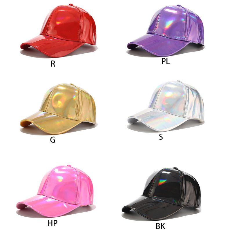 Gorra de béisbol de piel sintética para hombre y mujer, gorra con purpurina metálica holográfica reflectante de arco iris, gorra con visera ajustable