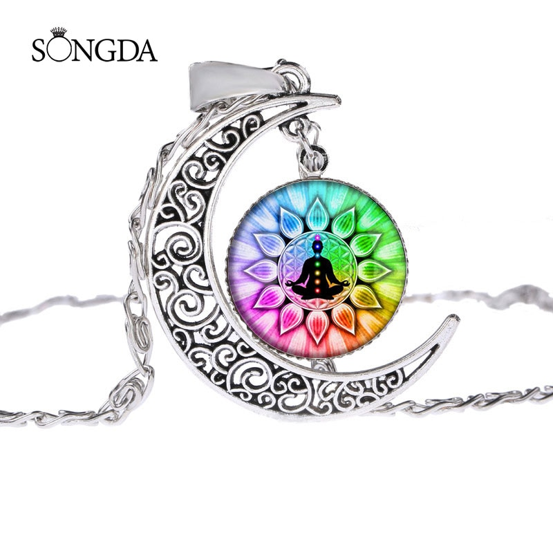 Collar de Yoga budista Chakra Om India Zen, colgante de Luna, collares de cadena larga, regalo espiritual, Color plateado, hecho a mano, cúpula de gafas
