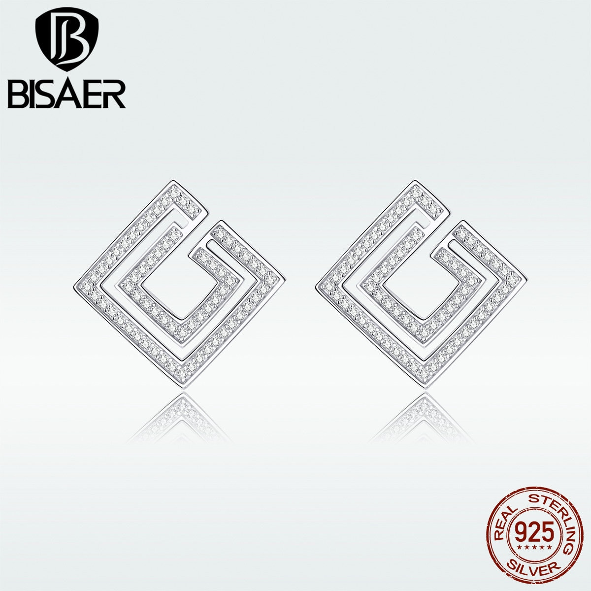 Pendientes de tuerca BISAER, joyería geométrica exquisita para Wowen Plata de Ley 925 auténtica, regalo brillante para fiesta, moda fresca HVE128