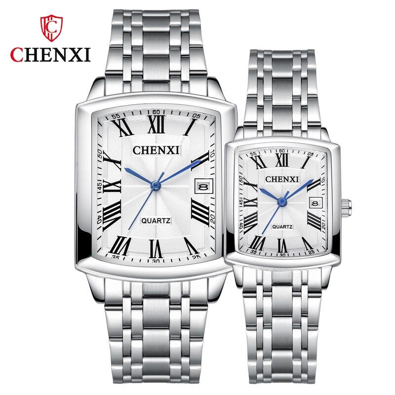 Relógio de Pulso à Prova Relógios para Amantes Relógio de Negócios para Mulheres dos Homens com Caixa Chenxi Casal Relógios Senhoras Dwaterproof Água Aço Inoxidável Luxo