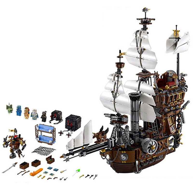 16002 Movie Lepining Series Pirate Ship Metal Beard's Sea Cow Model Building Kits Blocks Bricks Toys