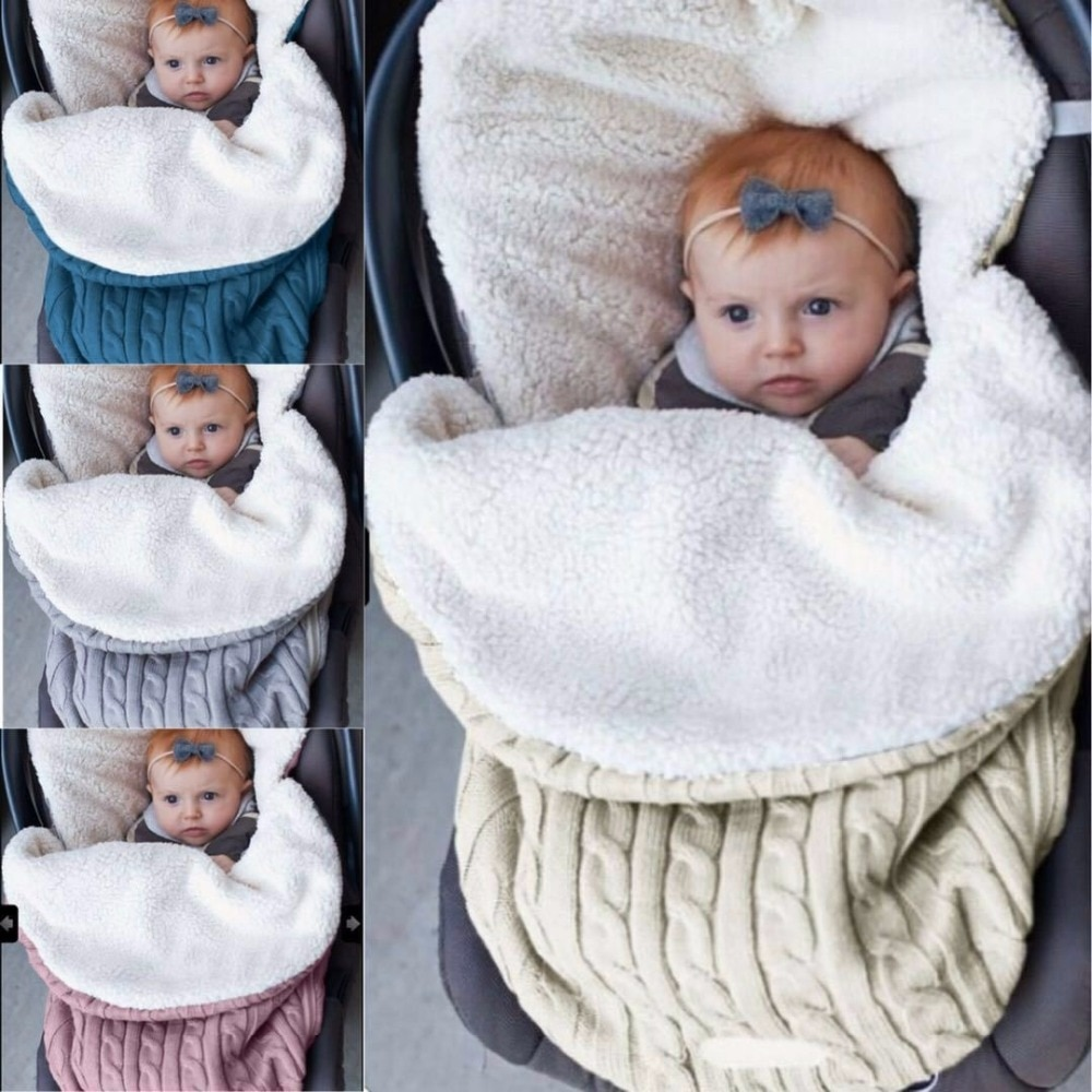 Thick Baby Swaddle Wrap Newborn Sleeping Bag Baby Warm Swaddling Blanket Infant Stroller Sleep Sack Footmuff Knit Envelope