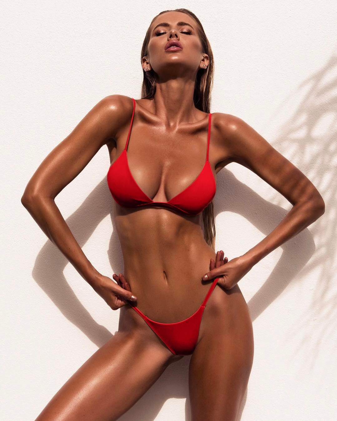 Summmer Solid Color Bikini Set 2021 Sexy Red Swimwear Women Brazilian Swimsuit Low Waist Biquini Halter Two Pieces Bathing Suit