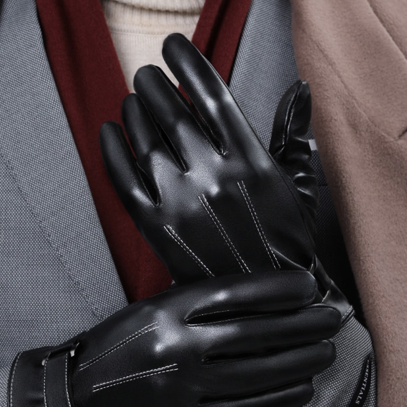 Driving Gloves Men,Autumn and Winter Warm Daily Black  PU Gloves with Touchscreen enlarge