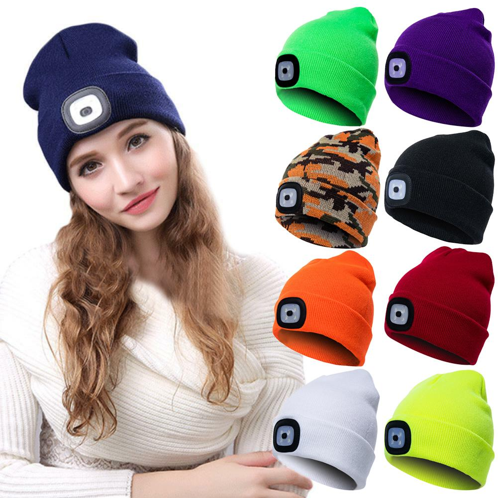 Unisex Autumn Winter LED Lighted Cap Warm Beanies Outdoor Fishing Running Beanie Hat Flash headlight