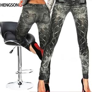 New Slim False Imitation Jeans Fitness Leggins Women Denim Leggings Nine Pants Leggings Black One Size
