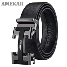 Brand-Name genuine leather automatic buckle top layer cowhide belt pure men's business pants belt H-