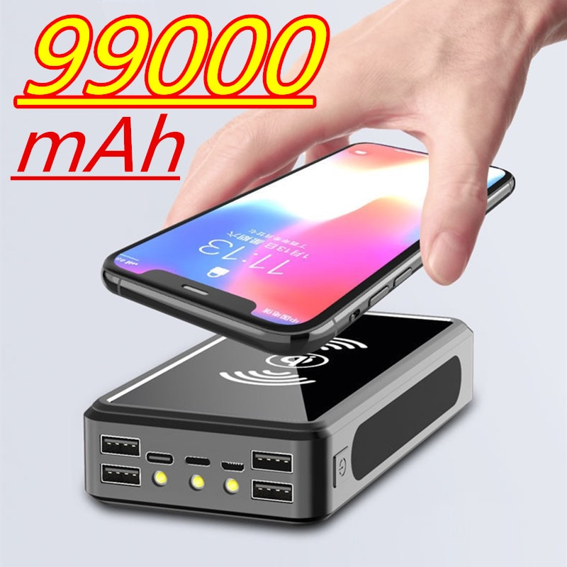 99000mAh Power Bank Wireless Charging Solar Battery Panel Powerbank Large-capacity Mobile Phone Charger External Battery Pack
