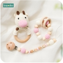 Bopoobo 1pc Baby Dummy Pacifier Chain Clip Crochet Toys Soother Nipples Holder DIY Wooden Rattle Newborn Toy Feeding Accessories