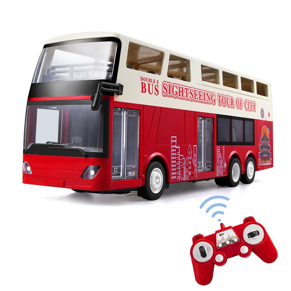 Big Double Decker rc Bus 2,4G luces Led abrir la puerta con un clic fuera Control rc tour bus vehículo electrónico Hobby Juguetes