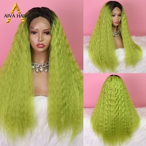 Ombre Green Synthetic Lace Front Wig Aiva Hair Heat Resistant Water Wave Blonde Synthetic Lace Wig Cosplay Wigs For Black Women