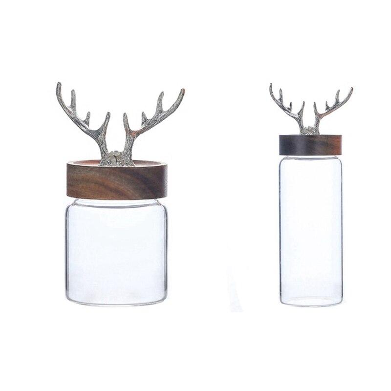 2x زجاج زجاجة الشمال مرطبان تخزين زجاجي الغذاء زجاجة تخزين أكاسيا غطاء من الخشب مختومة جرة برطمان للسكر صندوق الشاي-S & L