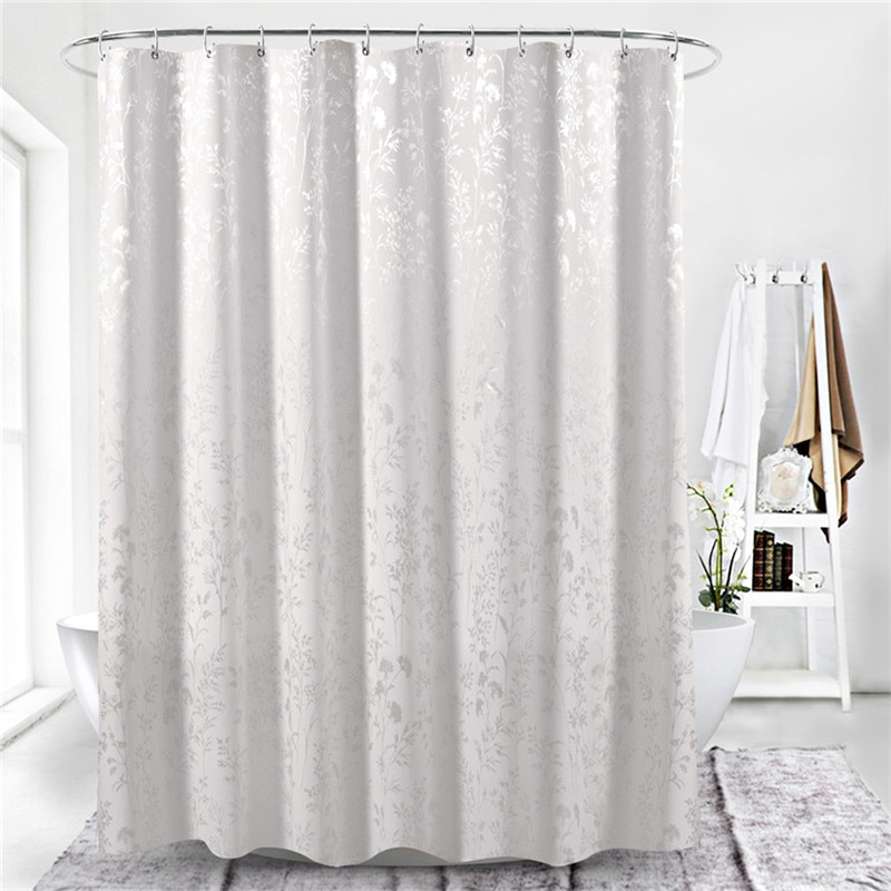 Polyester In White Leaf Print Curtain Bathroom Bath Curtains Easy Clean Shower Curtain Polyester Waterproof Bathroom Products