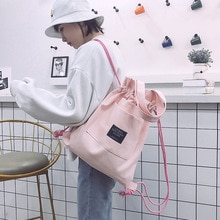 2 pcs Shopping Canvas Tote Casual Large-capacity Women String Bag Backpack Shoulder Bags Purses Ligh