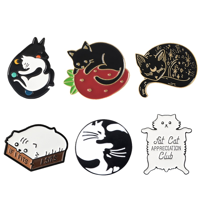Meow Кошка детский сад эмалированные булавки коробка котенок обнимает кошек значок на заказ брошь сумка Одежда отворот булавка мультфильм животное ювелирные изделия подарок