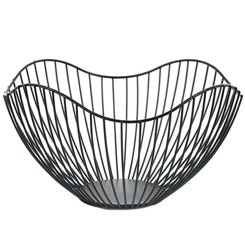 Recipiente de fruta de alambre de Metal ABUI, soporte para encimera moderna de cocina, cestas grandes de Almacenamiento negro redondas para pan, taza K, a