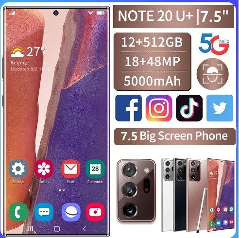 Original Global Version Samxung Note20U+ 7.5-inch Telephone 12GB+512GB Smart Phone Android 10.0 4G/ 5G Mobile Phone