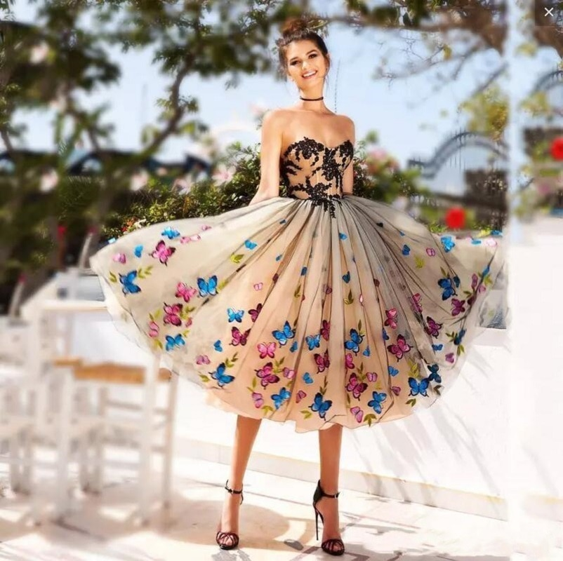 Fashion Evening Dress Ball Gown Colorful Butterfly Sweetheart Lace Party Bandage Halter Formal Bridemaid Dresses