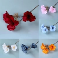 widely applied portable 3 heads hibiscus blossom artificial flower for garden