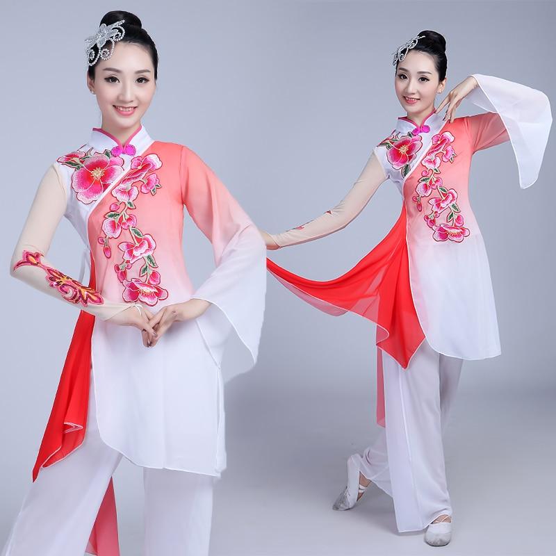 Chinese costume hanfu classical dance costume national dance costume yangko clothing adult fan dance traditional  dance costume 4000785119025 фото