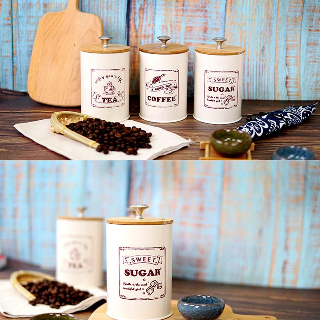 Juego de 3 tarros herméticos de almacenamiento de azúcar y café, Beige, 1000ML