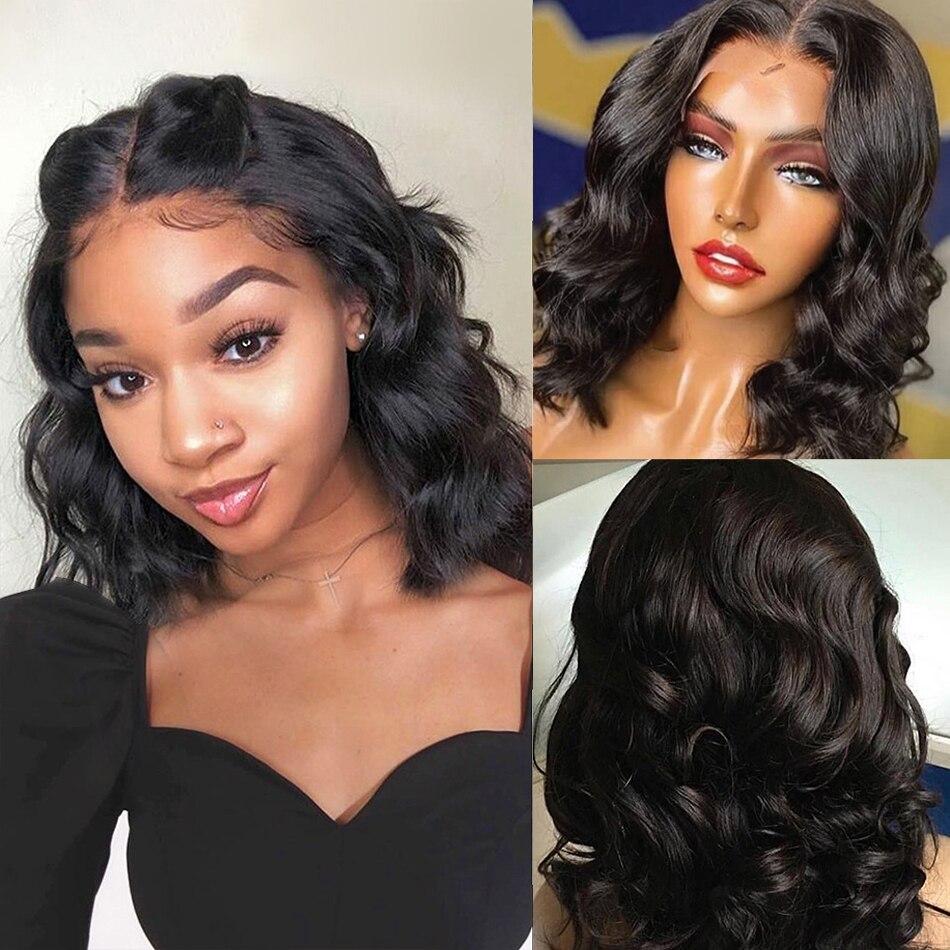 Short Bob Wig T Part Hd Transparent Lace Frontal Human Hair Body Wave Wigs Women 4x4 Lace Closure Wigs Bob 13x4 Lace Front Wig