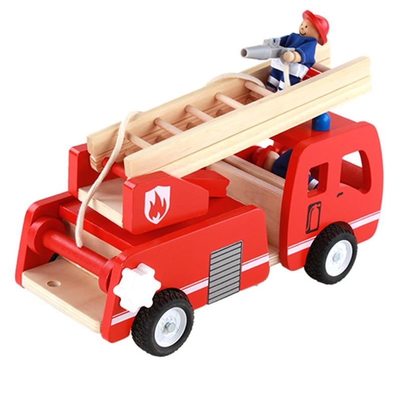 Wooden Fire Truck with Firefighter Play Figure Colorful Playset for Kids Children Pretend Playing Toy недорого