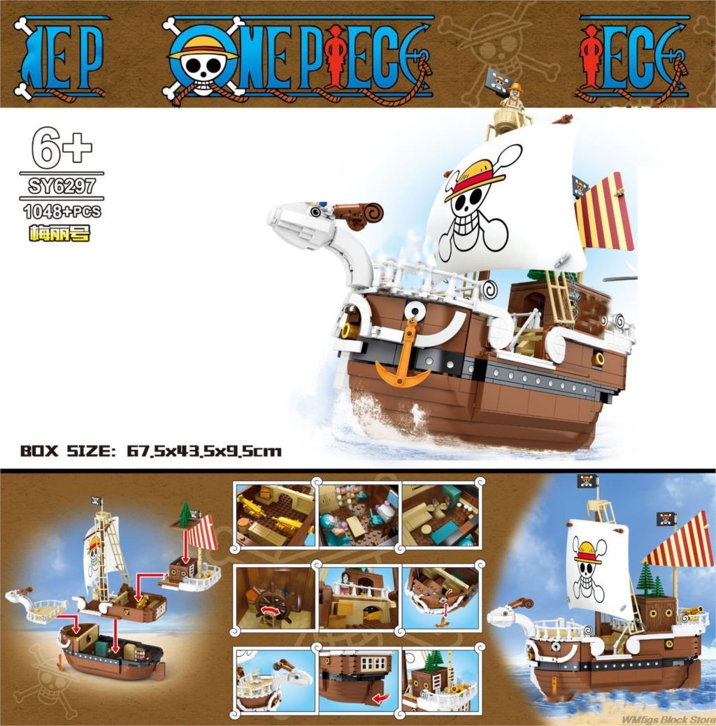 1048 Uds. SY6297 velero de una sola pieza con diseño de pirata, terraza, Storeroom, bloques de construcción multicapa para juguetes de niños