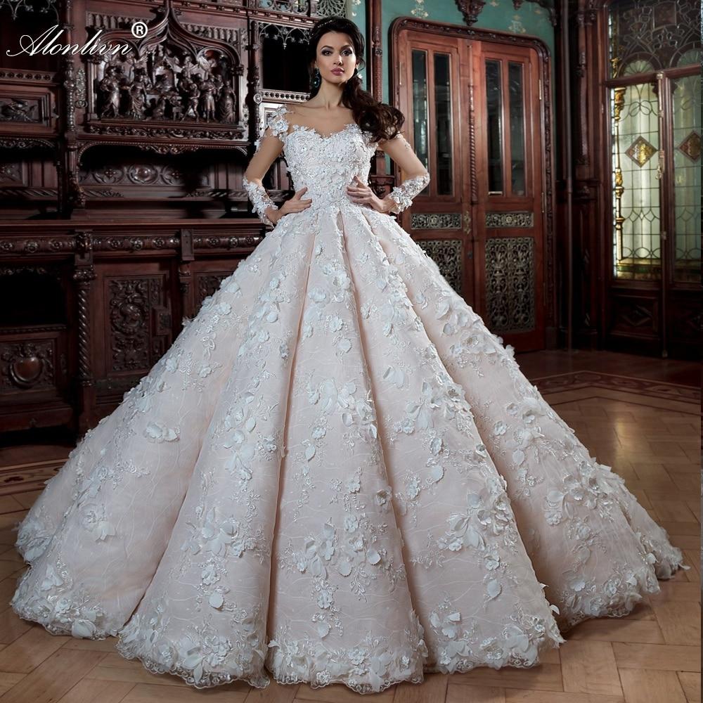 Alonlivn-فستان زفاف منتفخ فاخر ، دانتيل مطرز ثلاثي الأبعاد ، أكمام طويلة ، مجموعة جديدة
