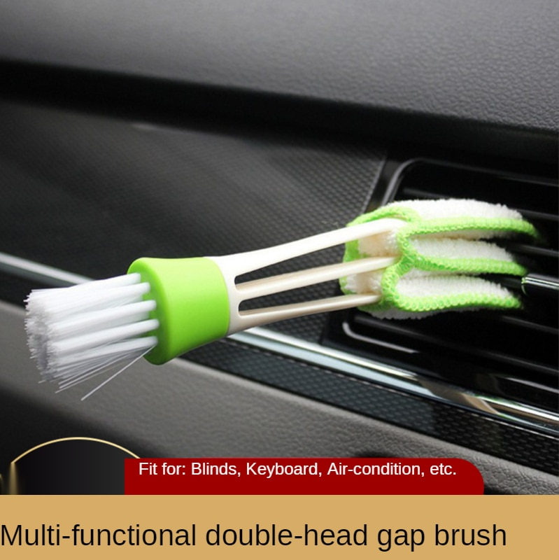 Многофункциональная щетка с двумя головками для автомобильного кондиционера, щетка для чистки решетки радиатора, щетка для клавиатуры, уда...