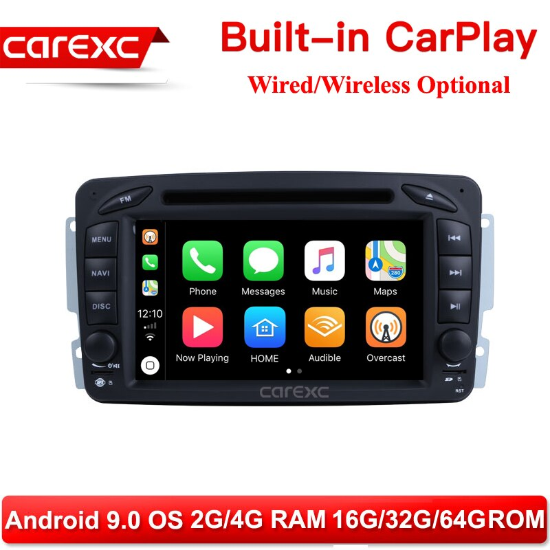 CarExc Android 9,0, Radio de coche, GPS DVD inalámbrico CarPlay para Mercedes Benz W168 W203 W209 C209 W463 Viano Vito C200 C230 C240