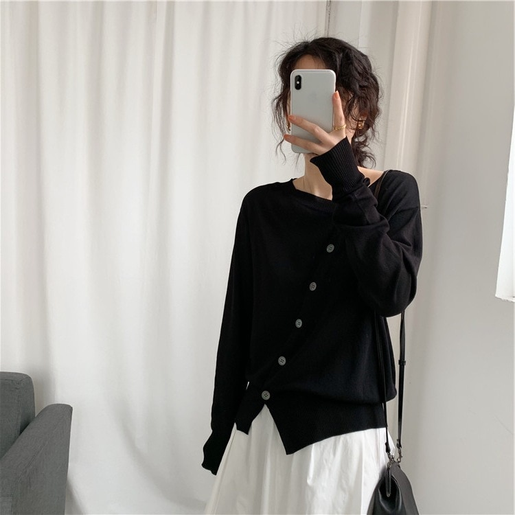 Simple Personality Oblique Placket Button Outerwear Cardigan Sweater Early Spring Versatile Loose Thin Knitted Coat for Women enlarge