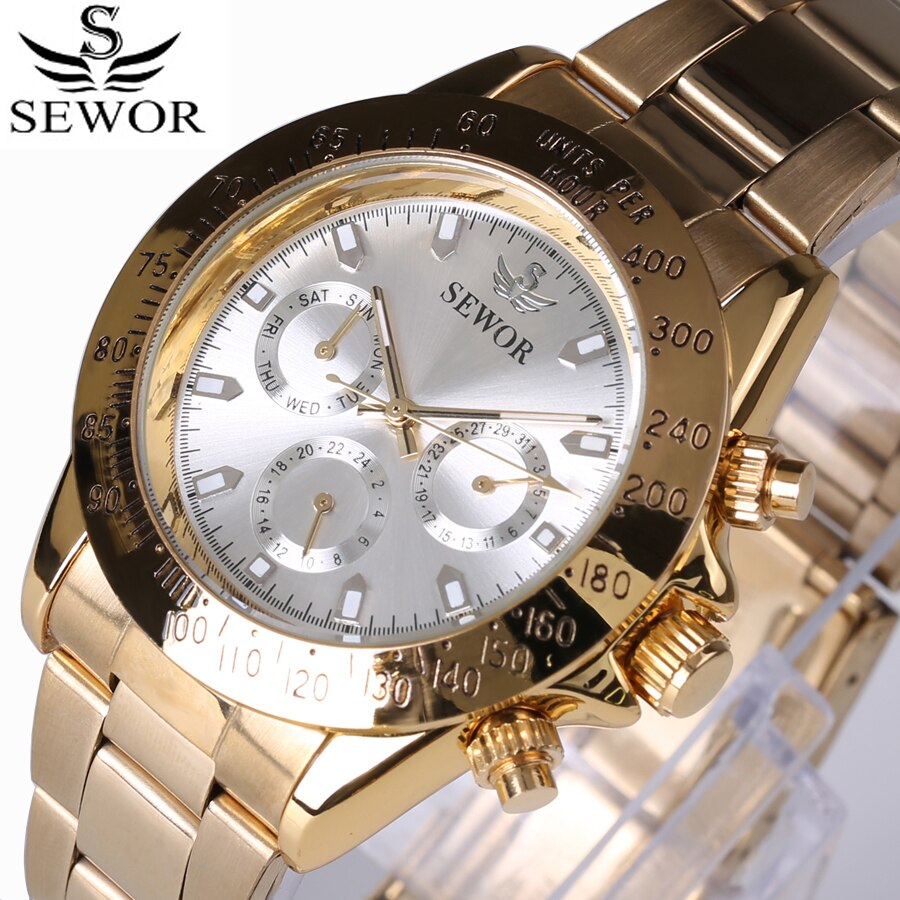 SEWOR Men Watches  Luxury Gold Stainless Steel Automatic Mechanical WatchesMen Sports Watches Three