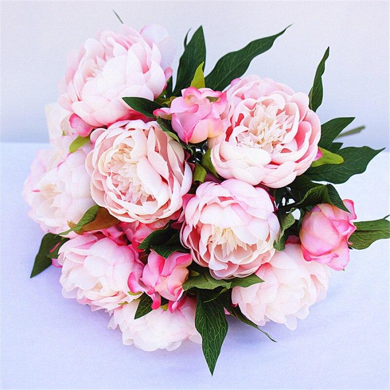 YO CHO, gran flor peonía seda Artificial falsa, decoración de fiesta casera con 3 cabezas, flores de peonía, suministros para planificador de bodas
