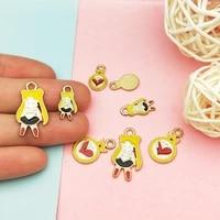 20pcslot heart tag beauty girl enamel charms alloy metal pendants for diy bracelet earrings jewelry making girl hair decor