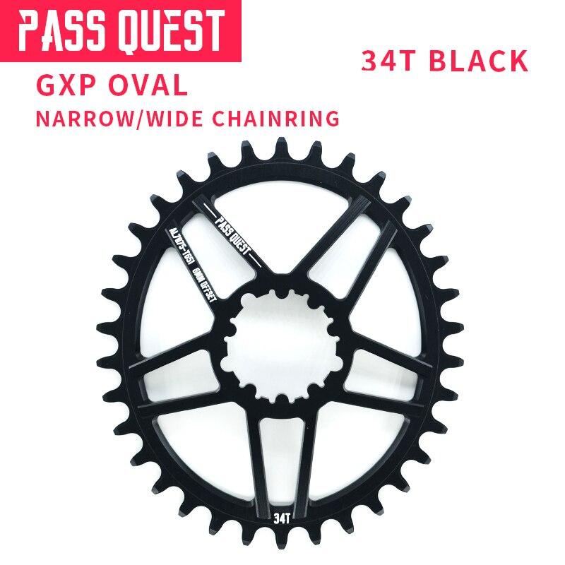 PASS QUEST GXP, plato de bicicleta de montaña ovalado, rueda de cadena angosta y ancha para bicicleta, rueda de cadena 6mm Offset 34T